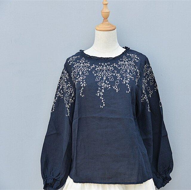 【受注製作】綿麻刺繍入り!可愛綿麻製トップス・ブラウスCX90 ブルーの画像1枚目