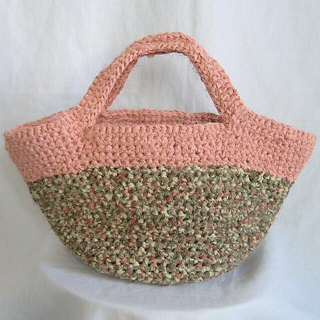 ¶ & crochet ¶ 着物裂き編み 個性的カラートート/マルシェバッグの画像1枚目