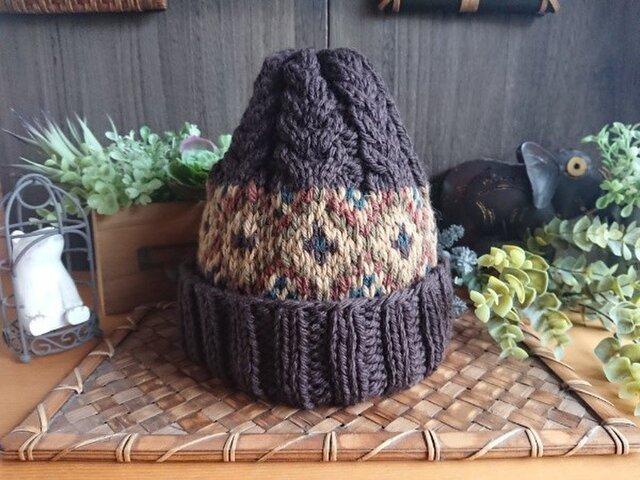 【受注制作】レトロ模様の編込み帽子の画像1枚目