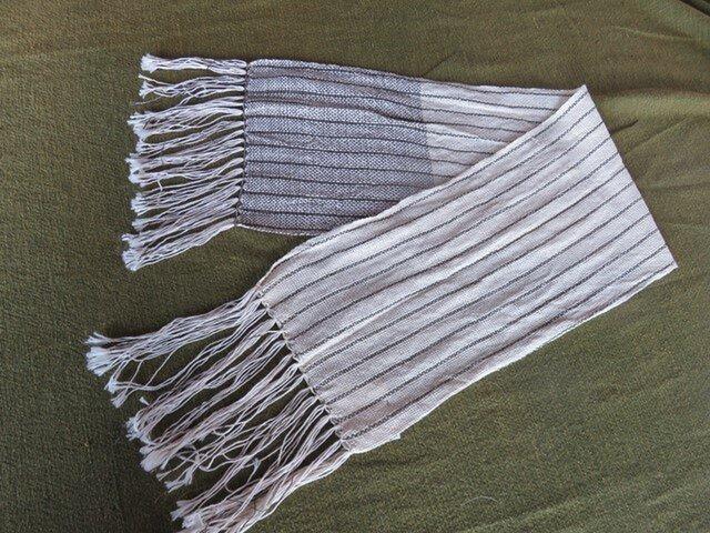 オールシーズン 手織りマフラー ショート A0821aの画像1枚目