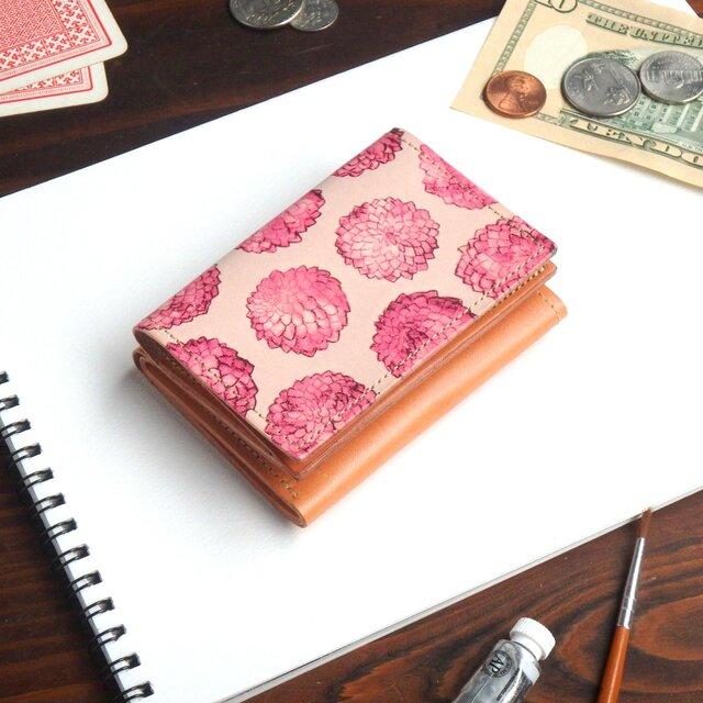 三つ折り ミニ財布(ダリア ドット) 牛革  オールレザー ILL-1129の画像1枚目