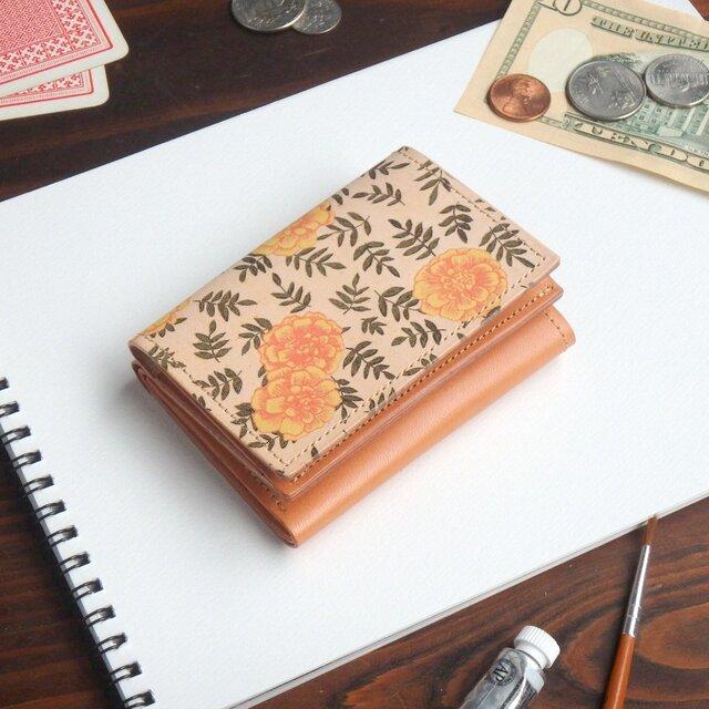 三つ折り ミニ財布(ヴィンテージ マリーゴールド) 牛革  オールレザー ILL-1129の画像1枚目