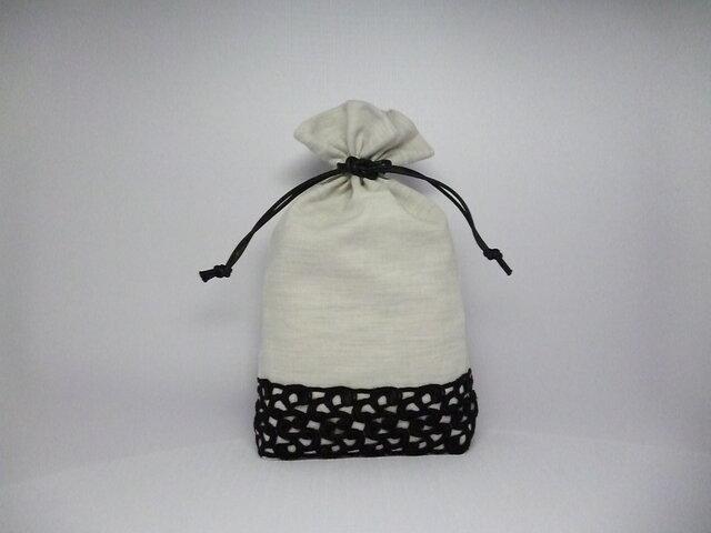 ブラックレースの巾着袋の画像1枚目