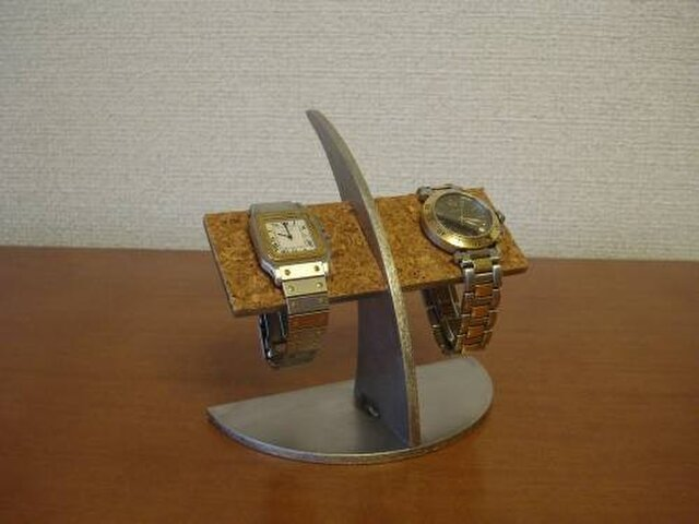 誕生日プレゼントに!半円台コルクバー2本掛け腕時計スタンドの画像1枚目