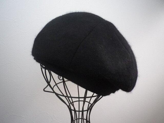 カシミヤ風シンプルベレー(ブラック60)の画像1枚目