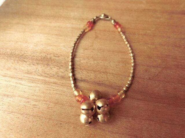 *ISUZU*ブレス@インドの宝来鈴+ジャワビーズ+真鍮のつぶつぶの画像1枚目