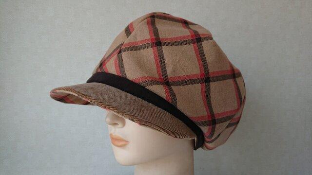 魅せる帽子☆ふんわり♪ネルプリントのキャスケット~キャメルの画像1枚目