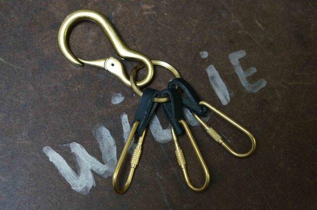 キーリングDARUMA真鍮製×イタリア革#BLKの画像1枚目