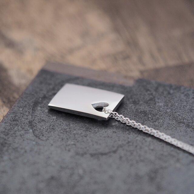 ハート + 四角 メンズ ネックレス シルバー925の画像1枚目