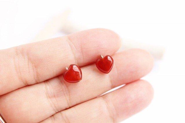 Heart カーネリアン Yピアス Silver925 or K18の画像1枚目