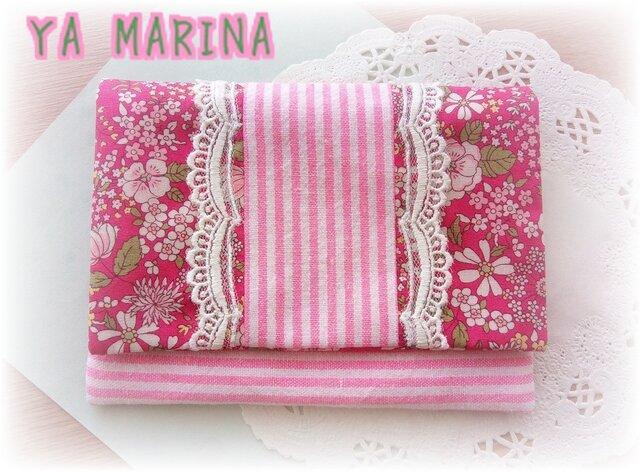 2つ折りティッシュケース ピンク×花柄の画像1枚目