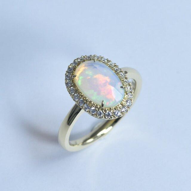 【1点物リング】Opal 1.06ct / Diamond 0.21ct / k18 -「オパール&ダイヤモンドリング」の画像1枚目