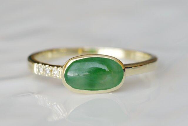 K10製 翡翠とダイヤモンドのリングの画像1枚目