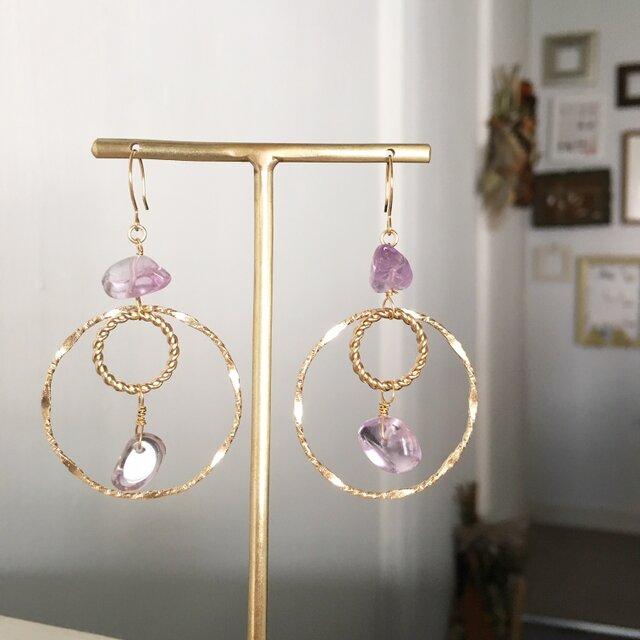 【2月の誕生石】Amethyst with double circle earringsの画像1枚目