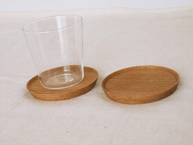 2枚セット 木製コースター 楢材2 丸型の画像1枚目