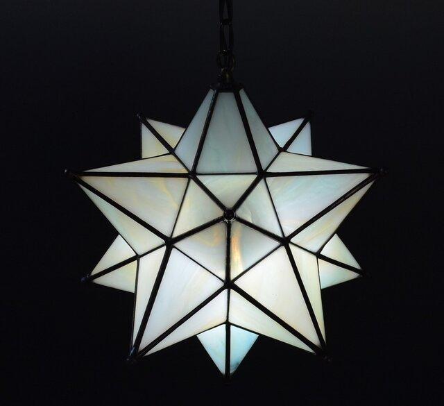 星のランプシェード 淡いグリーンとアンバーの画像1枚目