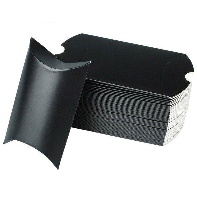 10枚入り ギフトボックス ピローボックス アクセサリー ラッピング用品 【ブラック/黒】の画像1枚目