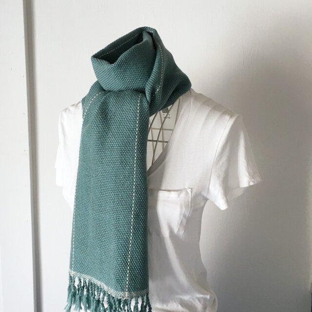 """【ベビーアルパカ:秋冬】ユニセックス:手織りマフラー """"Emerald green with White lines""""の画像1枚目"""