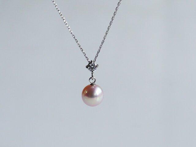 湖水真珠&上質ダイヤモンドネックレス18KWG&PT850 色:ピンクの画像1枚目