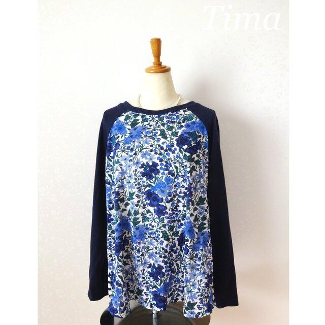 リバティ エドナのラグランシャツ 紺の画像1枚目