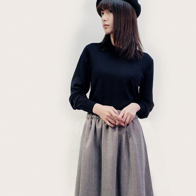 秋冬 ヘリンボーン ウール 黒×白 ロングスカート ●LYLA●の画像1枚目