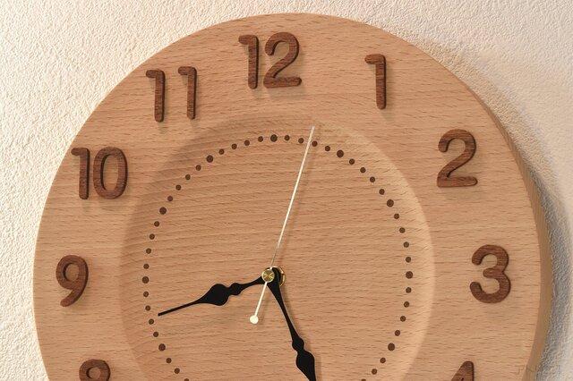 【受注制作】シンプルで清楚なブナの木の掛け時計【クオーツ時計】の画像1枚目
