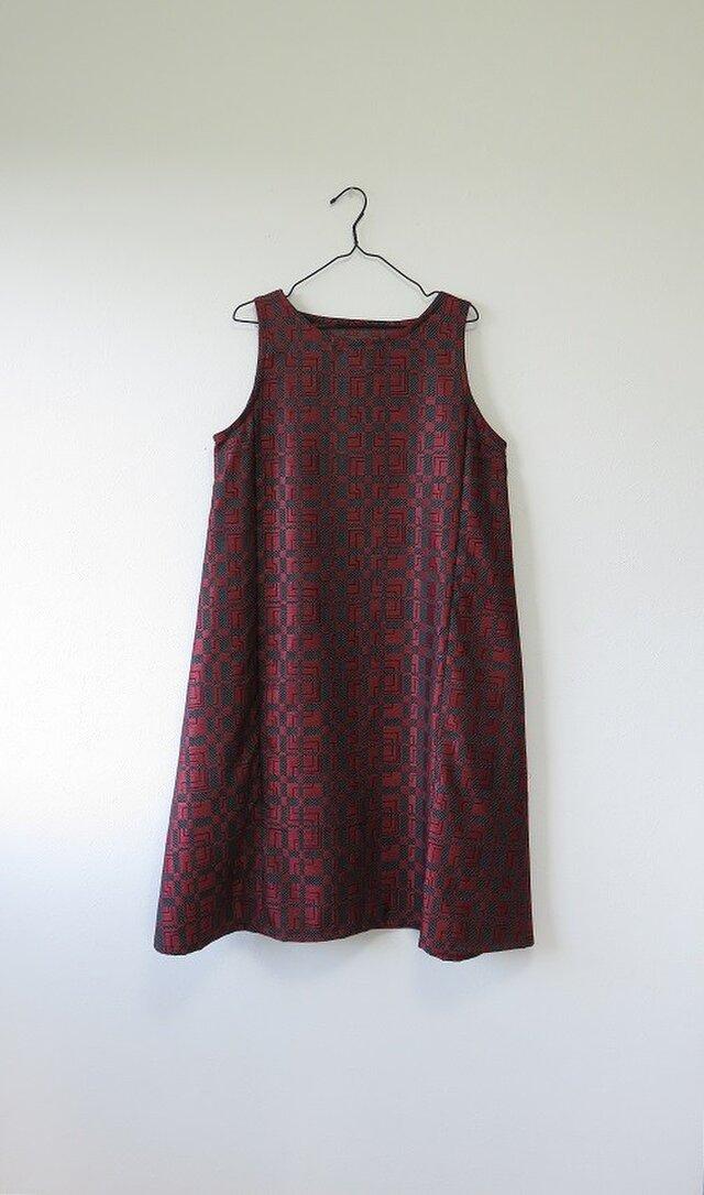 S様ご予約品*アンティーク着物*西陣別織ウールのワンピース(Lサイズ)の画像1枚目