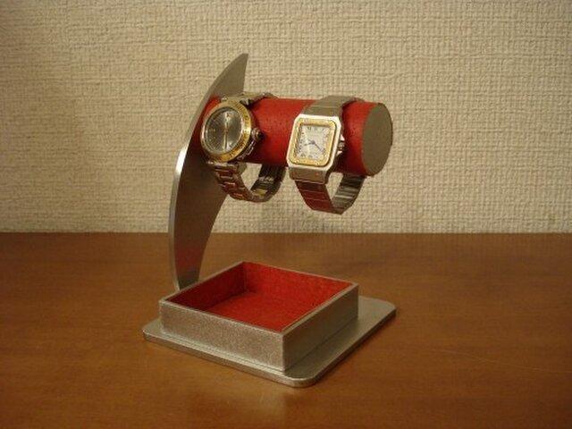 誕生日プレゼントに レッド2本掛けでかいトレイ時計スタンドの画像1枚目