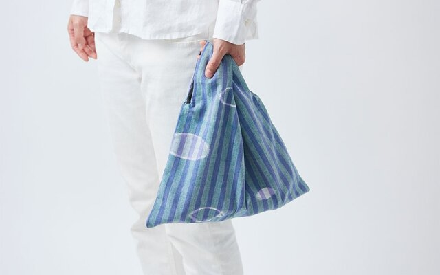 日本の布の手提げ|久留米絣|紫×緑の画像1枚目