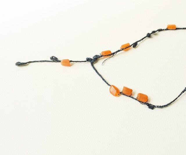 【送料無料】orange+navy necklaceの画像1枚目