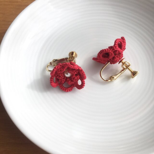 tatting lace earring/pierce【red】の画像1枚目