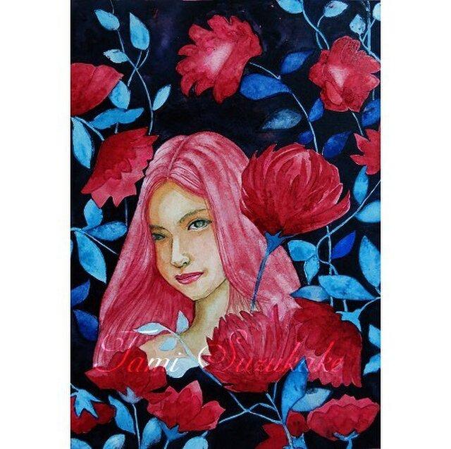 水彩・原画「美人画・情熱の花」の画像1枚目