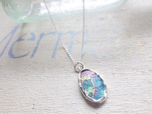 sv925フレーム ローマングラスの一粒ネックレス *SV925* Roman Glassの画像1枚目