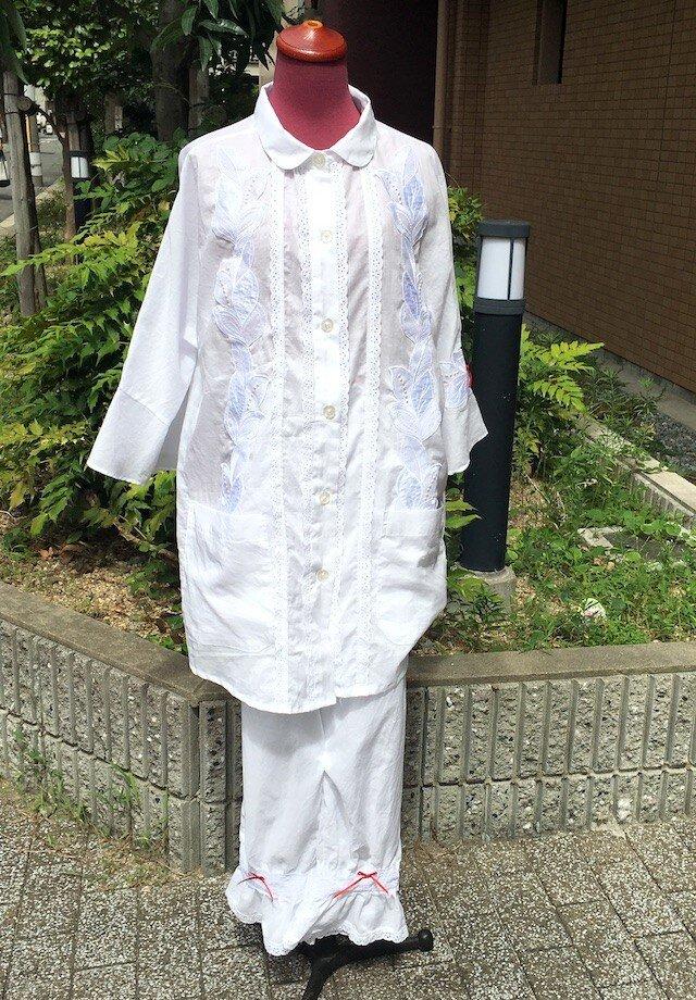 ローン布にレースをたっぷり付けた柔らかいパジャマコットン100% 送料無料の画像1枚目