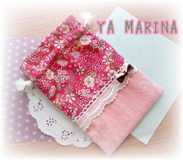 ミニリボンブローチ付き きんちゃく袋 ピンク×花柄の画像1枚目