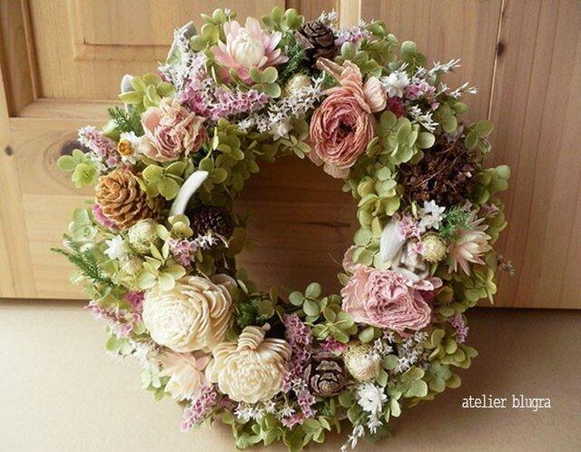 八ヶ岳〜アナベルと小花のAutumnWreathの画像1枚目