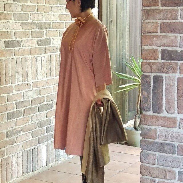 草木染手織りシルク 七分袖のワンピースの画像1枚目