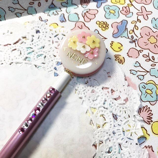 名前入り☆flowerブーケのキラキラボールペン(ホワイト✖︎ピンク)の画像1枚目