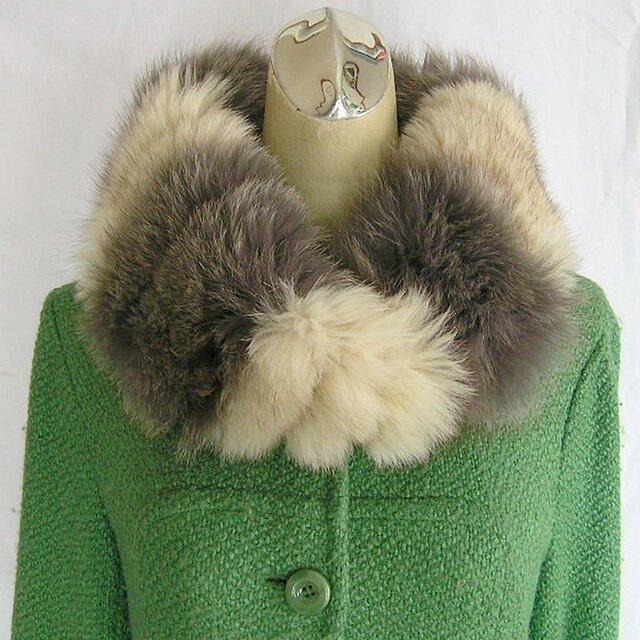 ¶ new antique fur ¶ グレー染&ブルーフォックスファーnejiriスヌード「iyou」の画像1枚目