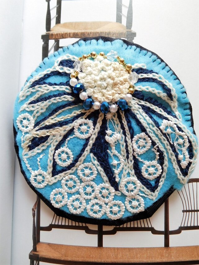 デイジー (刺繍 レース 青)の画像1枚目