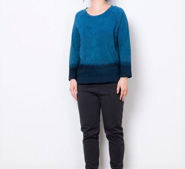 藍染 長袖カットソー グラデーション size1の画像1枚目