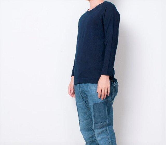 藍染 長袖カットソー 濃紺 size3の画像1枚目
