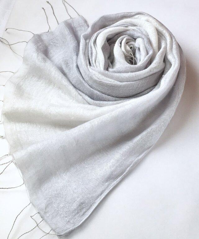 *灰青色×白色* 二重紗シルクストールの画像1枚目