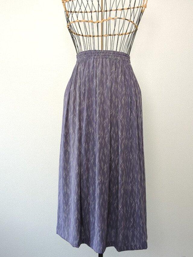 着物リメイク 淡藤色のギャザースカートの画像1枚目