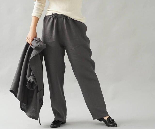 【wafu】中厚 リネンパンツ 男女兼用 リネン ボトムス ウエストゴム 内紐あり/黒橡 くろつるばみ b001f-ktb2の画像1枚目