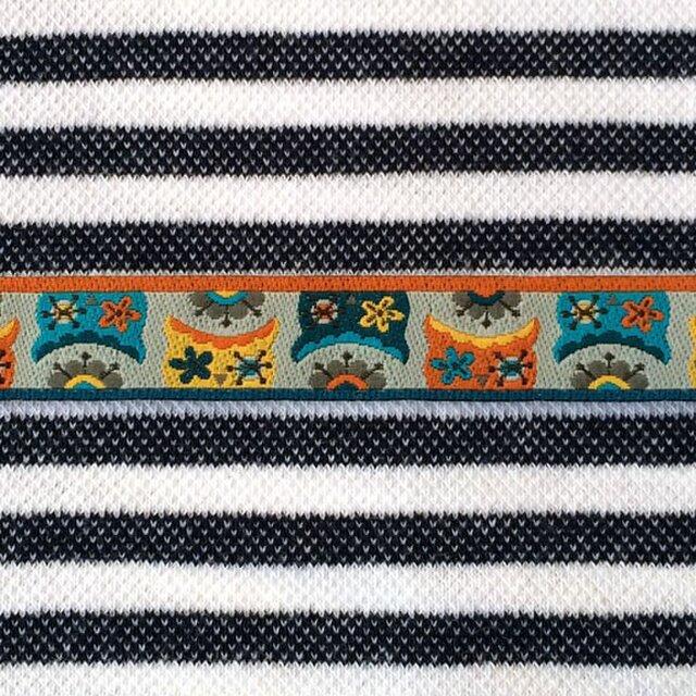 ドイツファーベミクス 刺繍リボン 1m-ふくろう グレーの画像1枚目