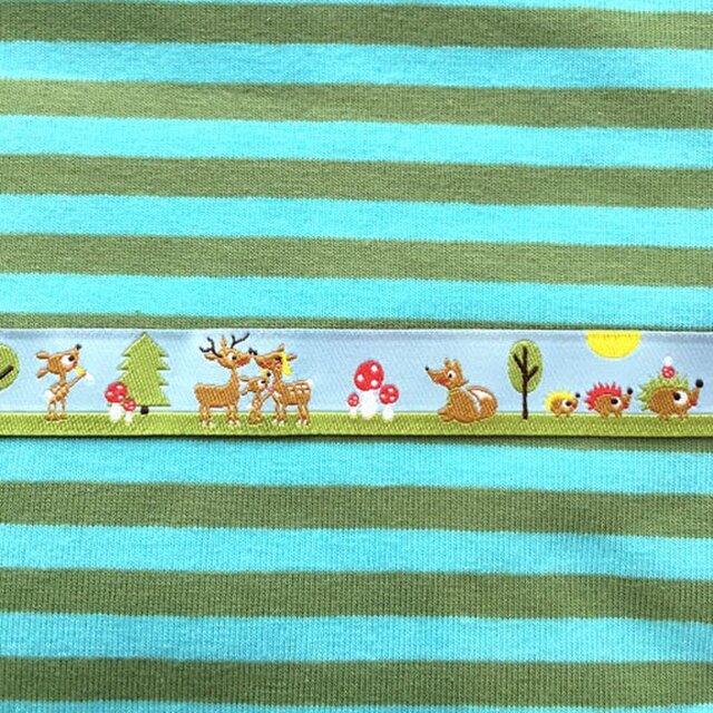 ドイツファーベミクス 刺繍リボン 1m-鹿とハリネズミのファミリーの画像1枚目