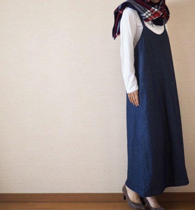 秋冬用 デニムサロペットスカートの画像1枚目