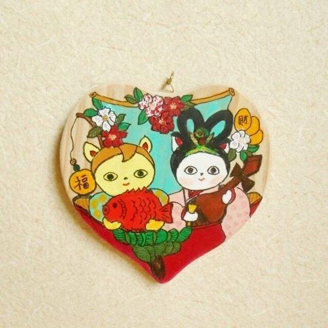ハートの飾り猫~七福神大黒天と弁財天風のかわいい猫 絵馬風かわいい飾り絵 お正月飾りにの画像1枚目