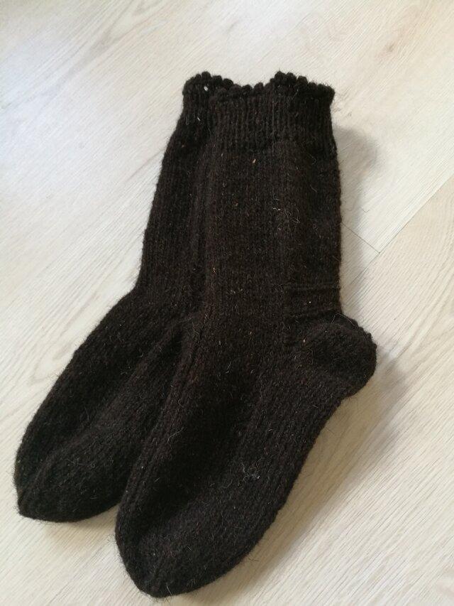 【男性用】天然羊ウール100% **ロング手編み靴下**の画像1枚目